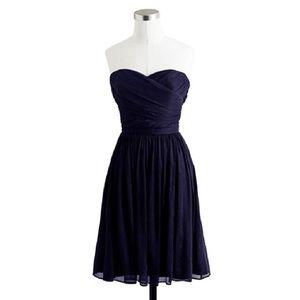 J. Crew Arabelle Silk Navy Strapless Dress 4